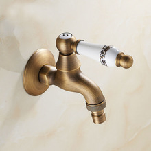 Antique Gold Oil Rubbed Bronze Garden Faucet Laundry Mop Sink Washing Machine Basin Faucets Water Cold Tap Ceramic Handle(China (Mainland))