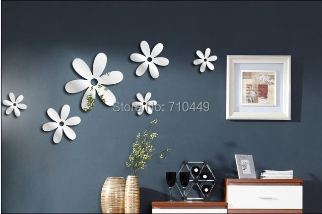 Creative flowers Self Adhesive 3D Mirror Wall Sticker acrylic Decal wall decor - Alforever home decoration store