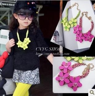 wholesale(5pcs/lot)- Children's clothing girl three-dimensional flower hemp rope necklace(China (Mainland))