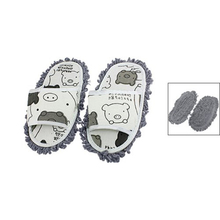 SZS Hot New Home Pair Dust Floor Cleaning Mopping Slippers Shoes White/Dark Gray Color(China (Mainland))
