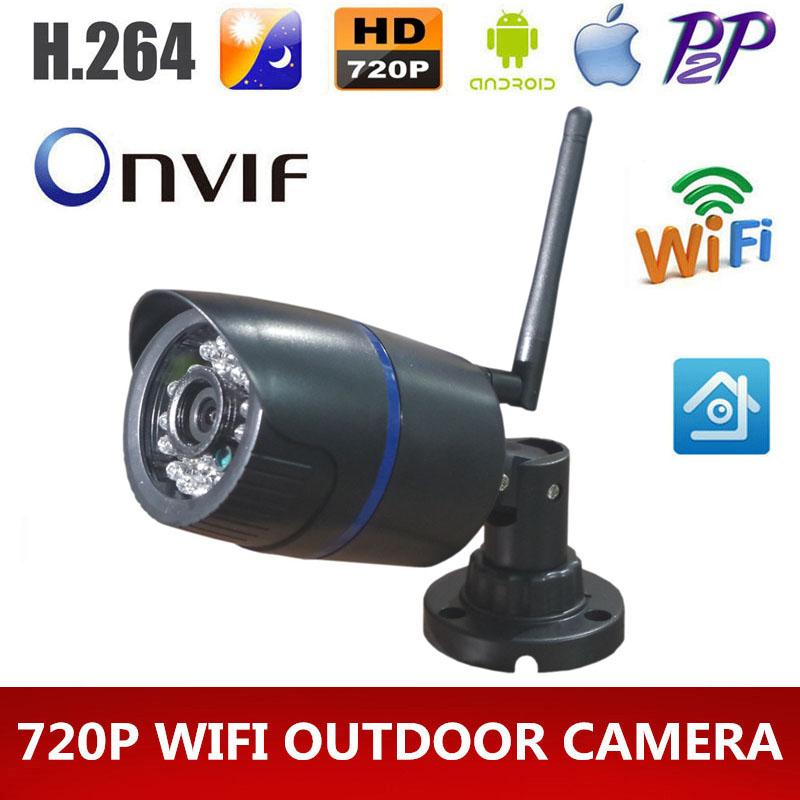 HD 720p wifi IP camera Onvif 1MP Outdoor Wireless Digital Security CCTV IP Cam IR Infrared P2P Bullet Kamera Motion Detect(China (Mainland))