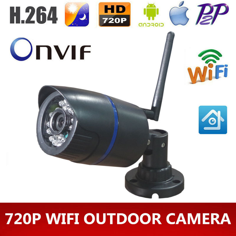 HD 720p wifi IP camera Onvif 1MP Outdoor Wireless Digital Security CCTV IP Cam IR Infrared P2P Bullet Kamera Motion Detect(China (Mainland))