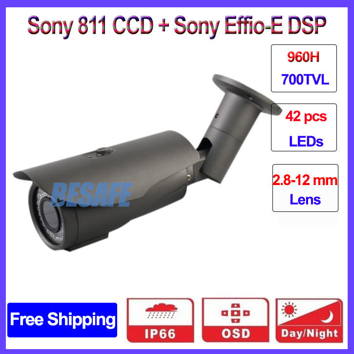 1/3 sony ccd 960H Effio-E outdoor Bullet security camera cctv with 42PCS IR LED, DWDR, OSD, DNR, 3-Axis bracket, 2.8-12mm lens<br><br>Aliexpress