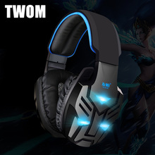 TWOM PC Headphones Gaming Headset with Microphone for Computer Stereo Big Glowing Earphones Universal Wired Luminous Earpiece