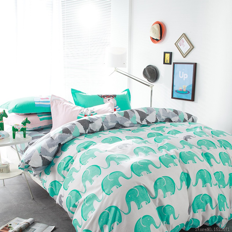 Green Elephant dog duvet covers Kids Cartoon animal beddings home textile bed cover queen size comforter bed sets(China (Mainland))