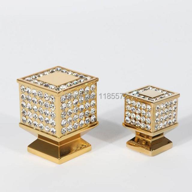 L30xW30xH40 Crystal Glass Diamond Golden Cabinet Closet garderobe Knobs(China (Mainland))