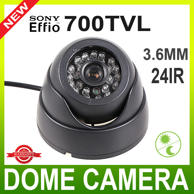 "1/3"" Sony CCD 700TVL Night Vision 24 IR LED Color Black Dome CCTV Surveillance Security Camera For 960H(China (Mainland))"
