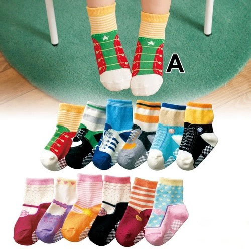 2015 Lamaze New Baby Socks For Boy And Girl Cotton Material Cute Anti-slip Floor 6 Pairs/lot For 1-4 Years Old Free Shipping(China (Mainland))