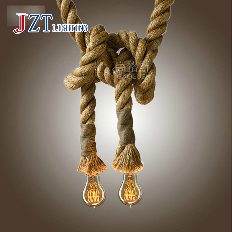 Z best price new LOFT INDUSTRIAL Toronto Manila 3M Retro Rope Ceiling Lights Chandeliers RUSTIC vintage hemp rope light(China (Mainland))