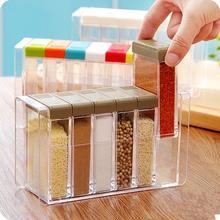New Split combination six rectangular grid spices seasoning box  a transparent plastic storage box rectangle seasoning(China (Mainland))