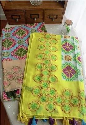 Новый блок печать точка хлопок платок бахромой шарфы Tianyuan сен женской линии солнцезащитный крем женский пляжное полотенце оптовая продажа