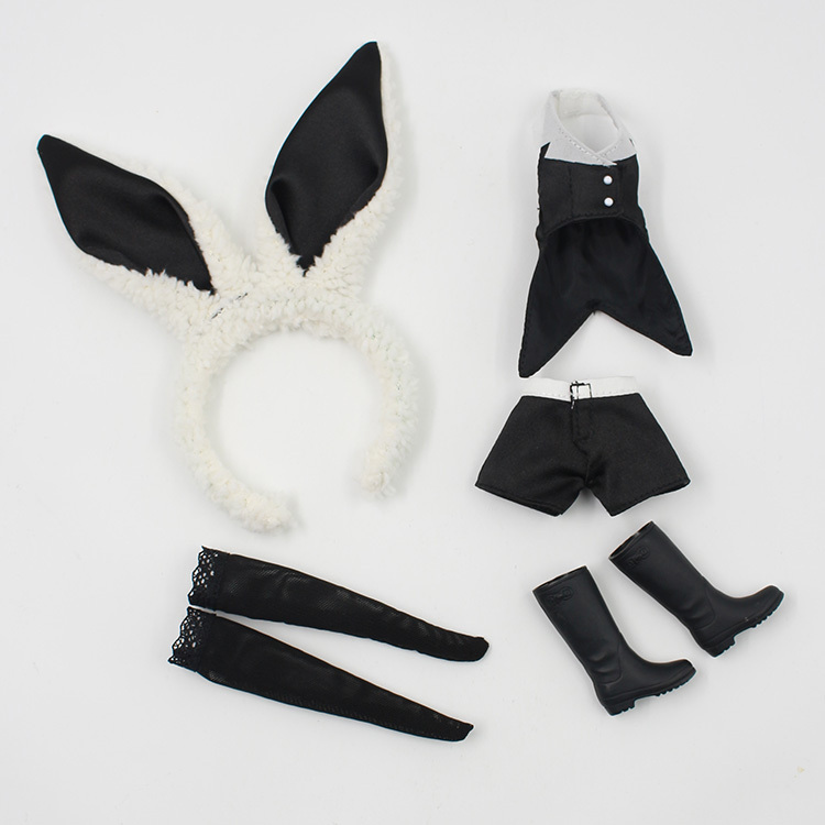 Blyth Doll Clothes Black rabbit suit for blyth dolls ,azone ,1/6 doll(China (Mainland))