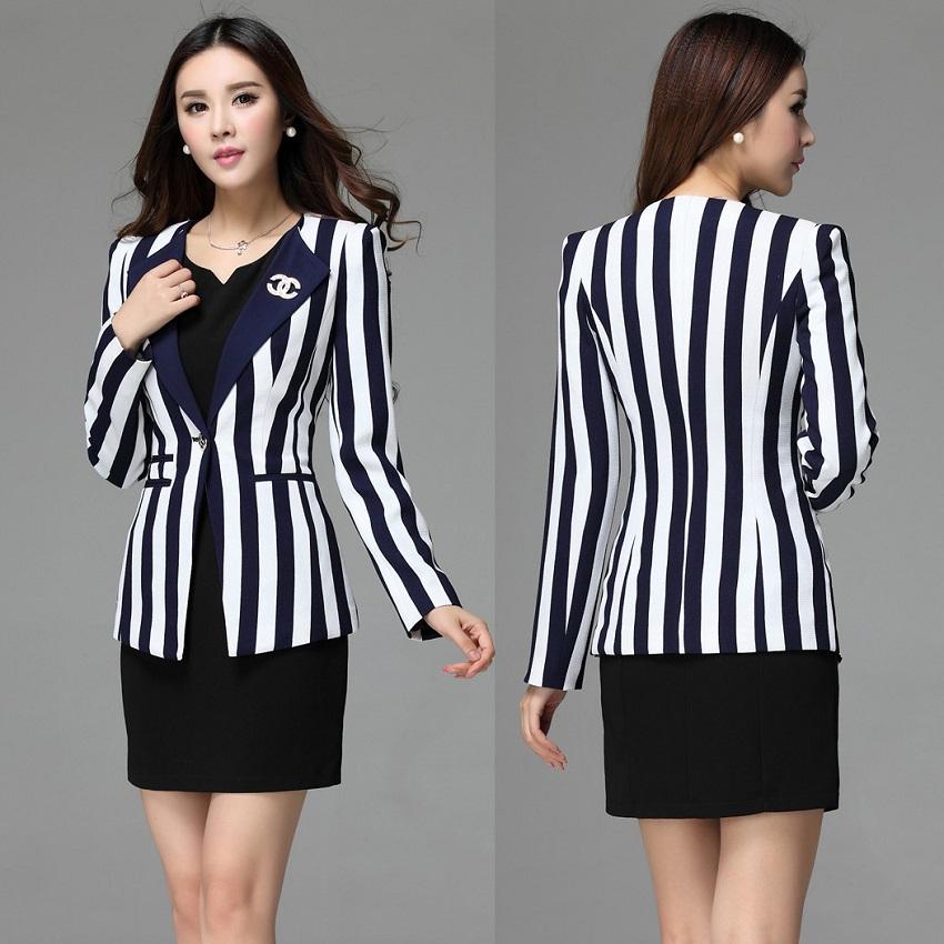 Formal Dress Suits for Women Work Wear Suits Blue & White Vertical Striped Blazer Sets Elegant Ladies Office Uniform Style