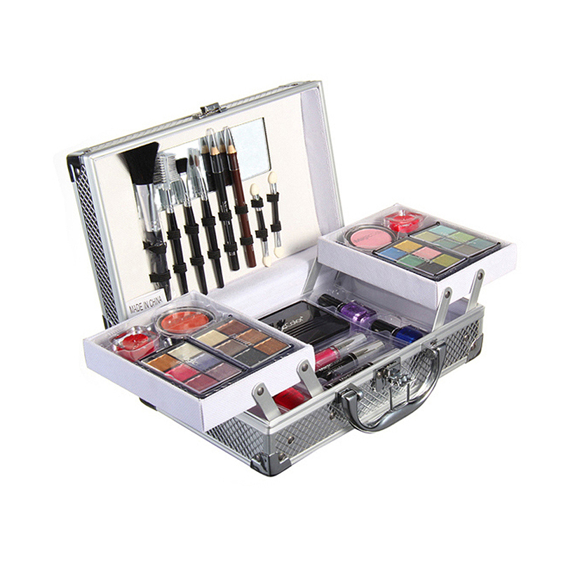 Hot metallic portable beauty case cosmetics brand makeup set a full set of combinations Makeup Gift(China (Mainland))