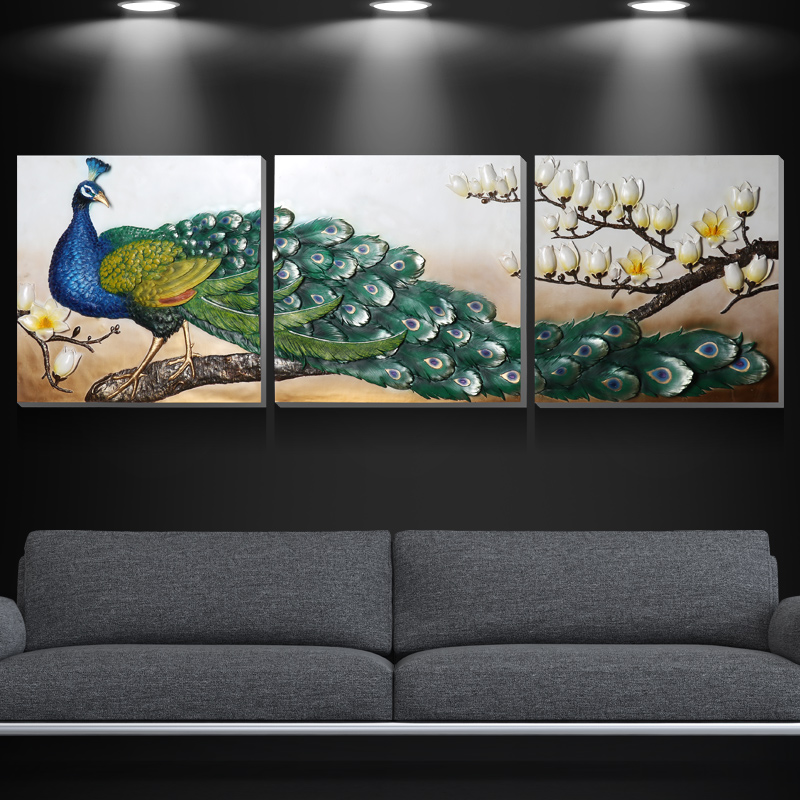 Green Golden Peacock Resin Crafts Paintings Background Mural Peacock Triple Dimensional Paintings Living Room Decorative Wall(China (Mainland))