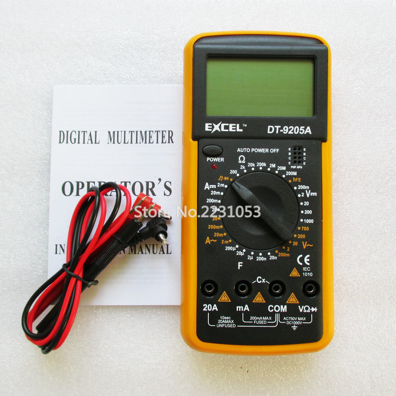 DT9205A ACDC LCD Display Professional Electric Handheld Tester Meter Digital Multimeter Multimetro Ammeter Multitester(China (Mainland))