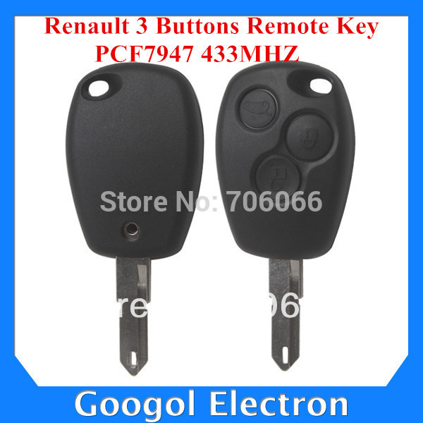 Best Price Renault 3 Buttons Remote Key PCF7947 433MHz 5pcs/lot Free Shipping(China (Mainland))