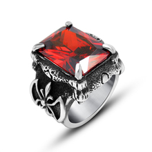 New Come Vintage Titanium Stainless Steel Rings For Men Ruby Vampire Ring US Size 7-12 Cool Gothic Style Man Ring