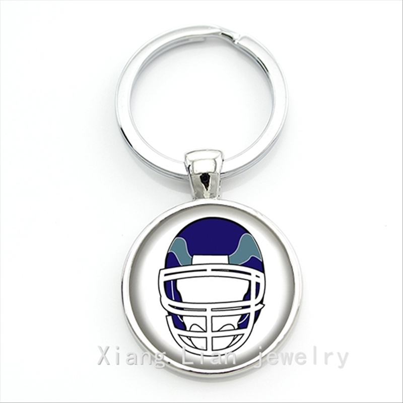 A simple and beautiful look accessory for men rugby jewelry football team logo keychain for men NF071(China (Mainland))