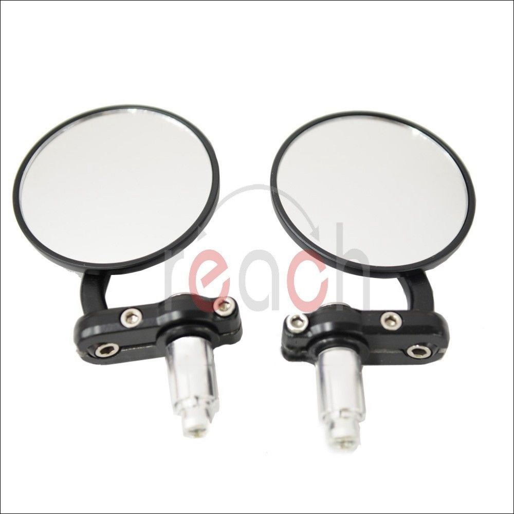 "3"" Pair Motorcycle Rearview CNC Aluminum Rearview Mirror Handle bar End Black Side Mirror(China (Mainland))"