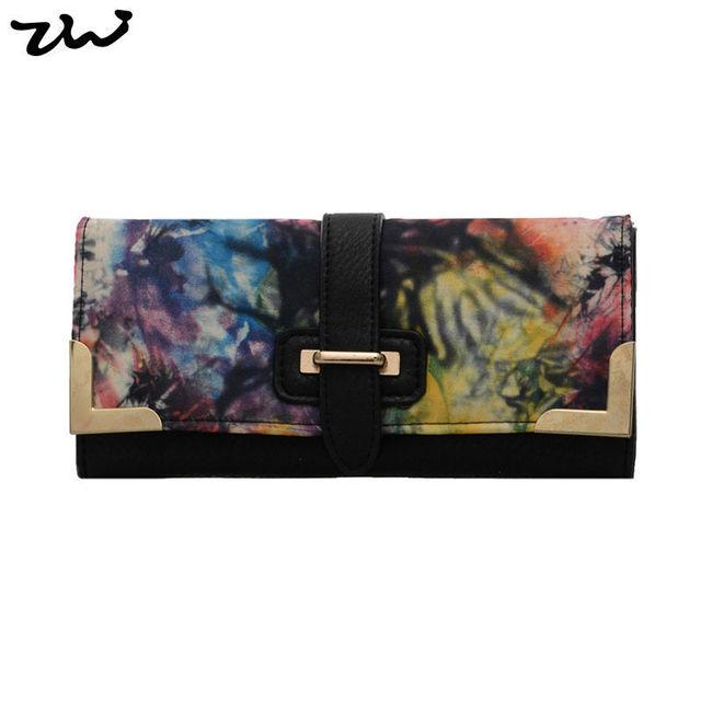 Ziwi марка красочный цветочный бумажник 3 цветов мода искусственная кожа женщины ...