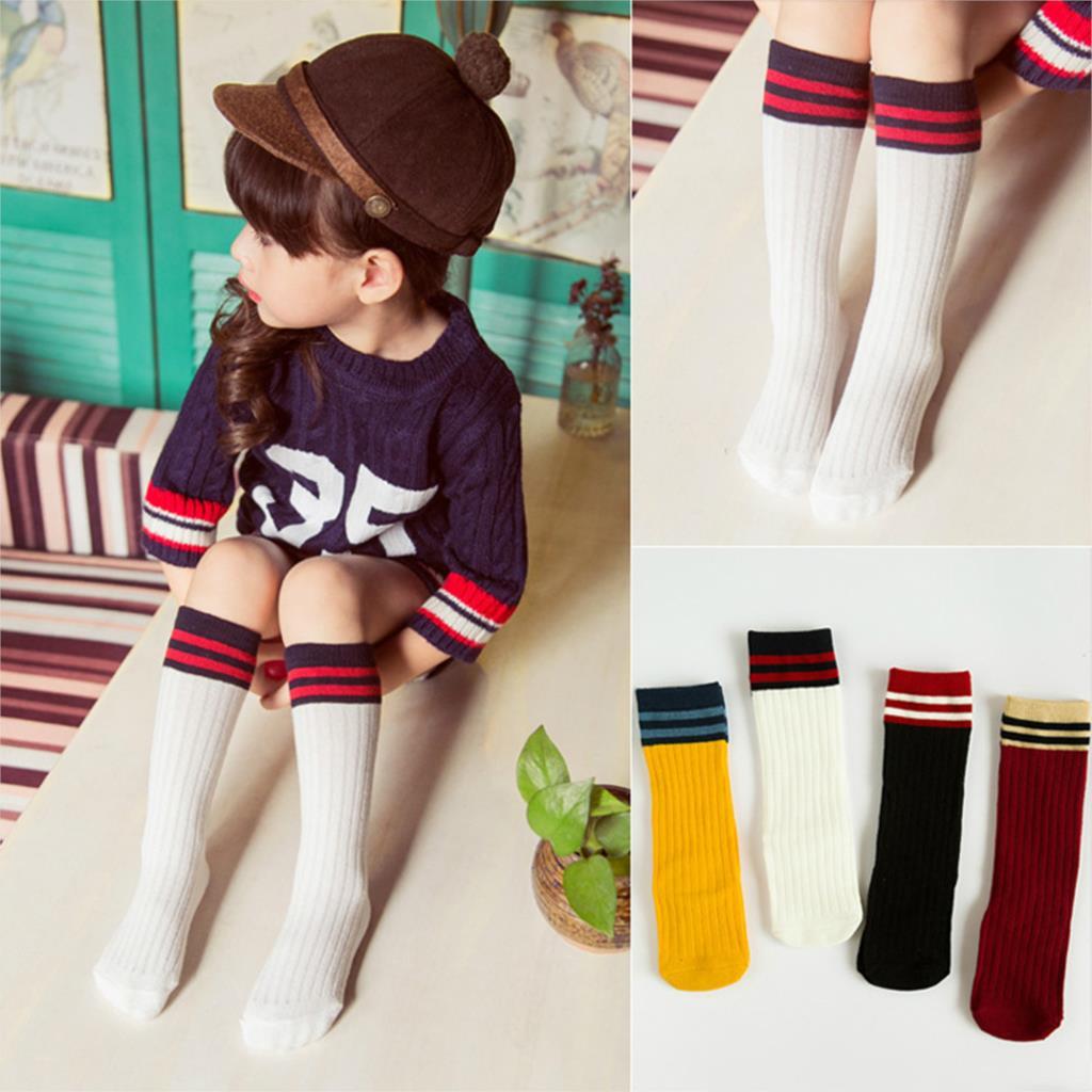 New Design Toddler Knee High Baby Socks Girl Boy Fall Winter Leg Warmers Cotton Socks Striped Letter Pattern