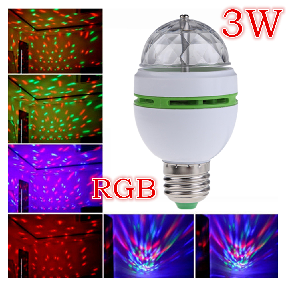 Bombillas LED Lamp E27 Moving Head Stage Lighting Laser Crystal Auto Rotating RGB LED Par DJ Controller disco ball party light(China (Mainland))