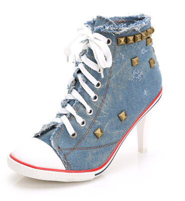 Women Casual Denim Canvas Shoes New Fashion Rivets High-Top Canvas Shoes For Women, Women's Spring Shoes Sapatos Femininos 8(China (Mainland))