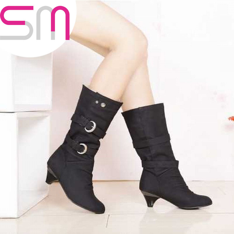 Cool Metal Charm Buckle Strap Mid-calf Boots 2015 Brand Women's Medium Heel Rubber Boots Autumn Winter Boots for Women Shoes
