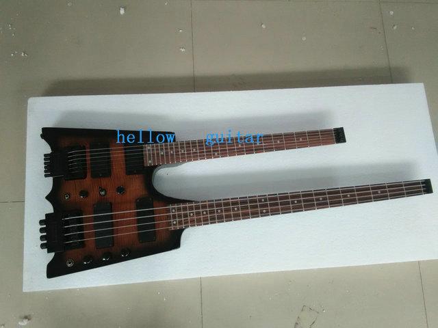 free shipping Wholesale custom shop Black Headless guitar Double Neck 4 string bass 6 string Electric Guitar/guitars/guitarra(China (Mainland))