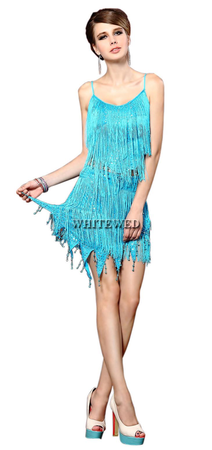 Fringe Sequinn Ballroom Jazz Latin Salsa Tango Dance Team Suit Dress ...