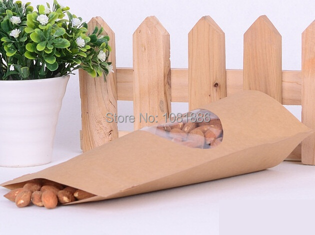 Size 13x18cm kraft stand up packaging bags with oval window for candy packing Free Shipping(China (Mainland))