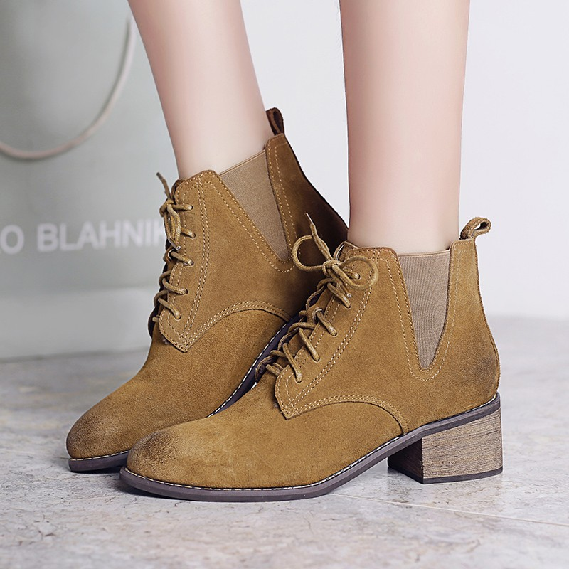 Women's Lace-up Low Heel Comfortable Autumn Ankle Boots Brand Designer Gradient Toe Genuine Suede Leather Short Booties Shoes