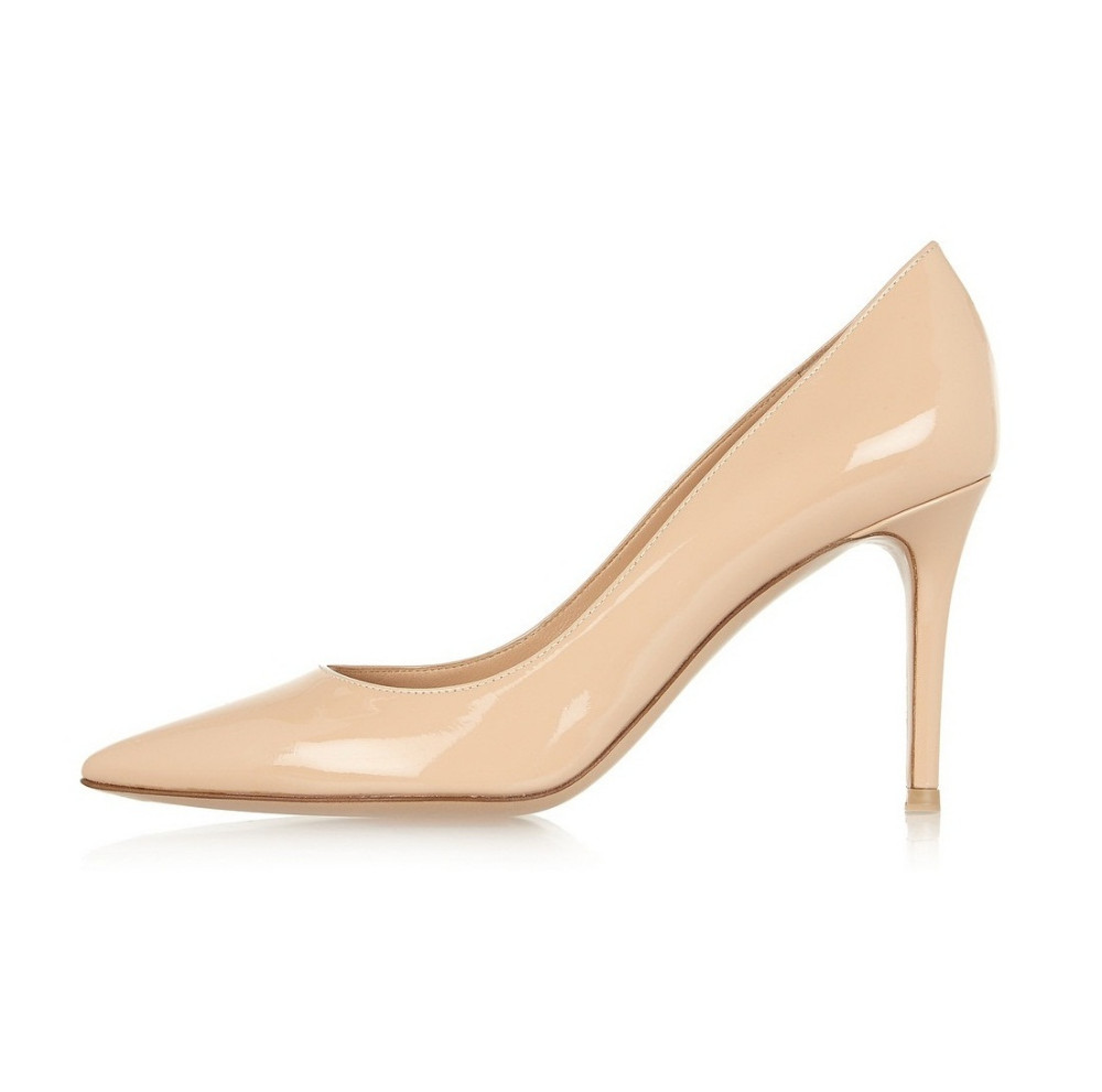 Amourplato Women's 80mm High Heel Slip On Office Dress Pumps Ladies Classic Solid Pointed Toe Plus Size Shoes