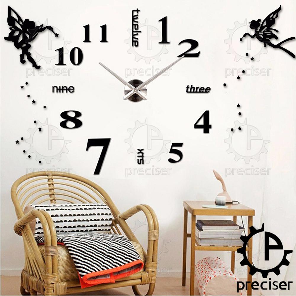 Angel Wings Princess Arabic Digital Wall Clock Modern Large Self-adhensive Wall Clock 3D DIY Vintage Home Decor(China (Mainland))