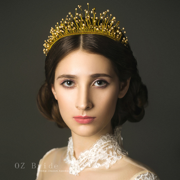 2015 new - Australian version palace. Luxury wedding jewelry bridal headdress handmade golden crown female Wang Wangguan<br><br>Aliexpress