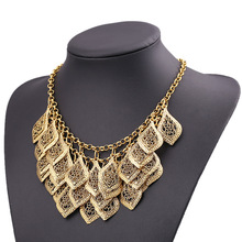 2014 New Fashion Star Jewelry Old Gold Color Multilayer Hollow Leaves Carved Exaggerated Alloy Vintage Women