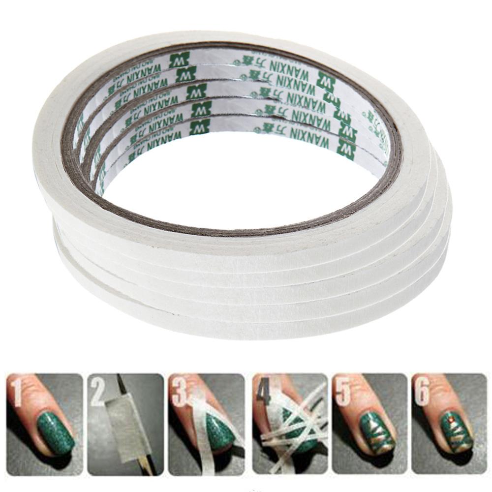5Pcs/Lot French Manicure Nail Tape Stickers Nail Art Tips Masking Tape Do Pattern Manicure Tools Nail Art Decoration 9.5 * 0.5cm(China (Mainland))