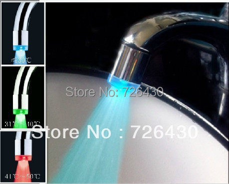LED Tap Water Faucet Light Temperature Controlled Sensing Glow Shower 3 Colors Changing LED Tap Water Faucet Light(China (Mainland))