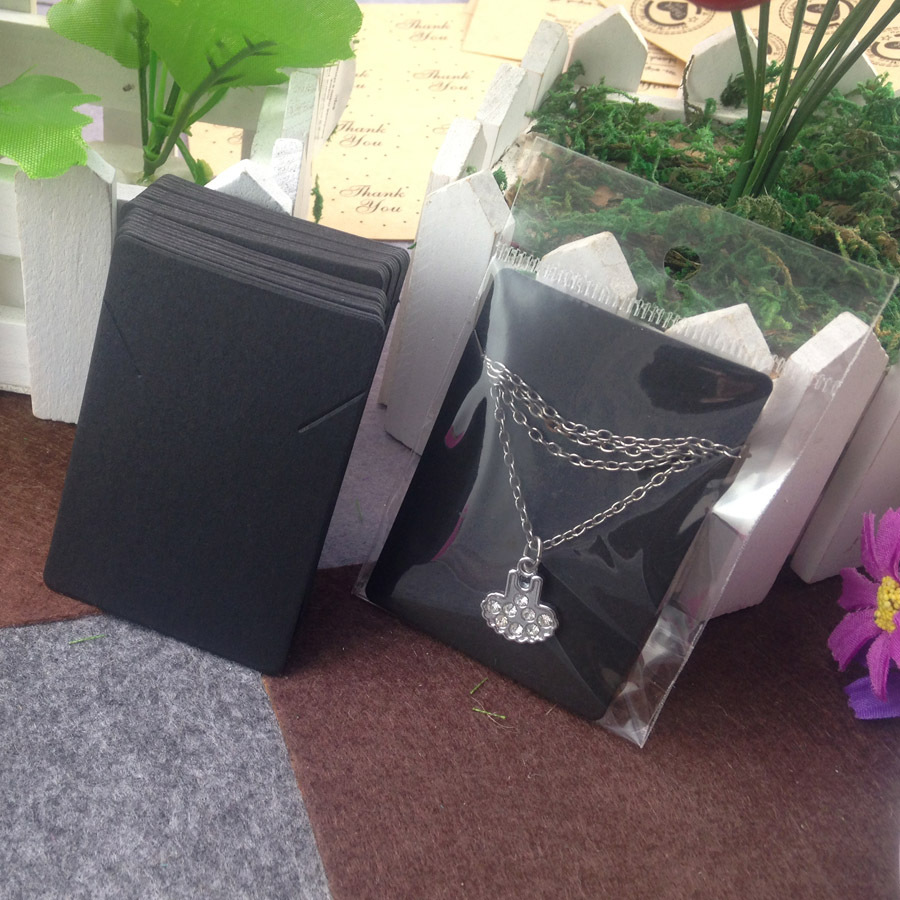 Blank Black Pendant Card Necklace Card 1lot=100 card +100 opp bag Blank Jewelry Card Can Custom Logo Cost Extra(China (Mainland))
