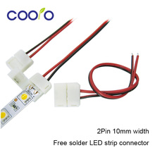 5pcs/lot,10mm 2pin LED strip connector wire for 5050,5630,5730 single color strip, free solder connector wire(China (Mainland))