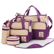 New High-quality 5 each / set hand bags Diaper Nappy Durable Bag Mummy Bag Baby Bags for Mom 8 Color(China (Mainland))
