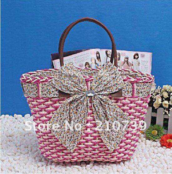 Free shipping,Fashion handbag women bag ladies totes bags,Summer straw beach bag Promation(China (Mainland))