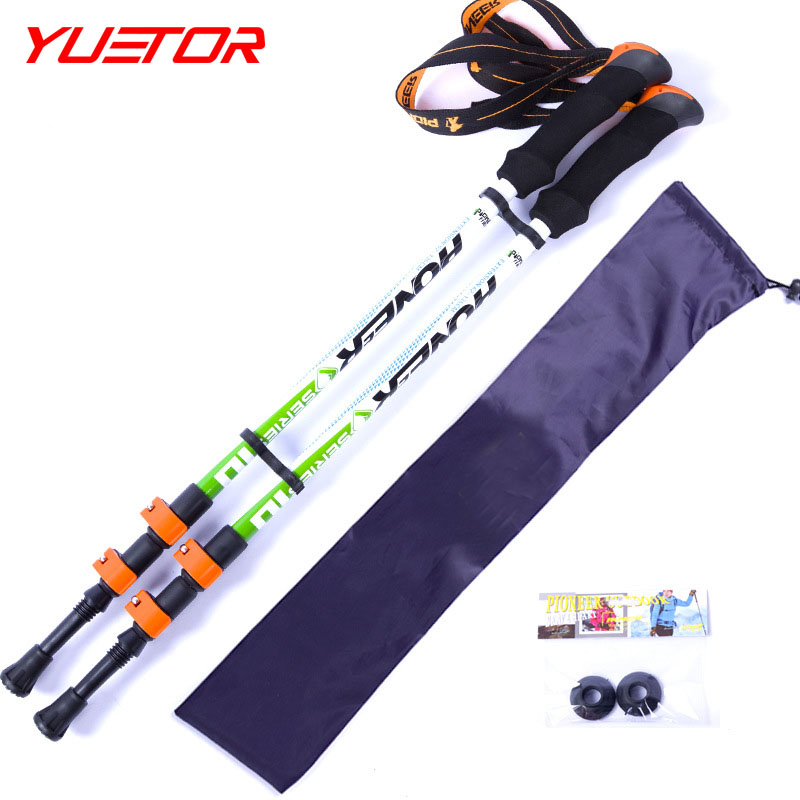 Brand YUETOR carbon fiber trekking poles 1pc Speed lock telescopic steel baton nordic walking stick for camping equipment(China (Mainland))