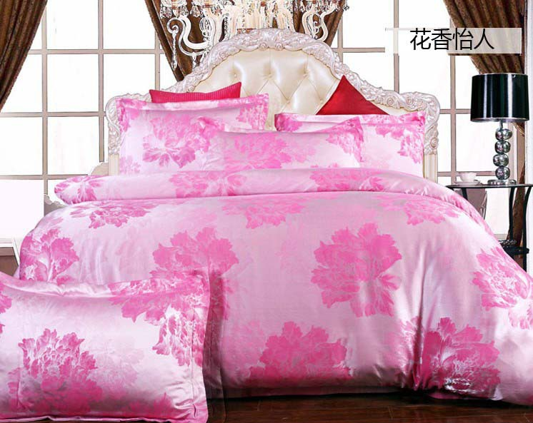 Luxury Pink flowers silk satin jacquard/cotton princess 4pcs wedding bedding set/comforter/duvet cover set/B2325 Queen/King size(China (Mainland))