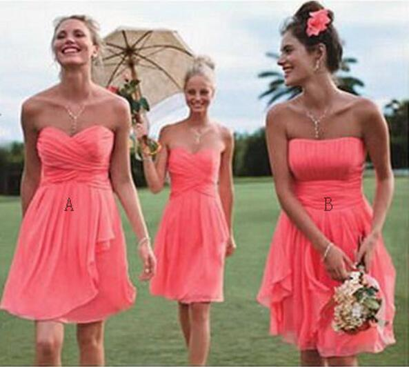 Fancy Two Style A and B Short Coral Bridesmaid Dresses