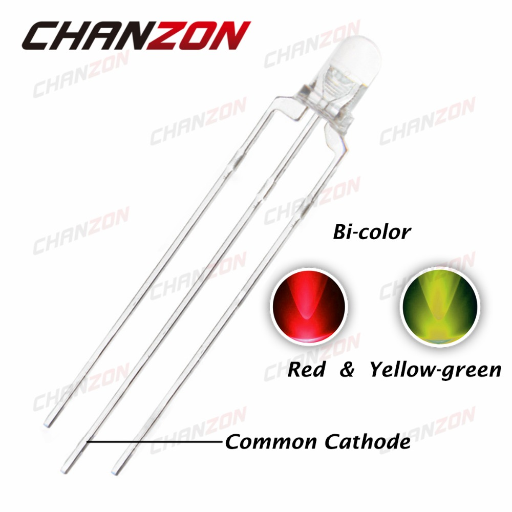 100pcs 3mm LED Common Cathode Red Yellow Green 3 mm Transparent Round Bi-Color Light-Emitting Diode Light(China (Mainland))