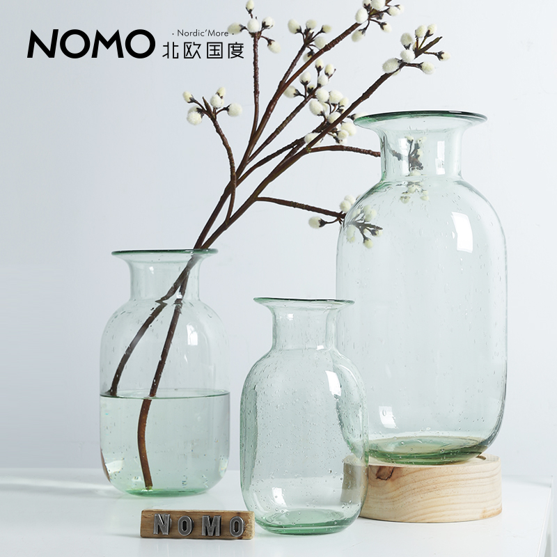 The Nordic country spring light color transparent small glass vase flower vase Nordic Industrial Art home decor
