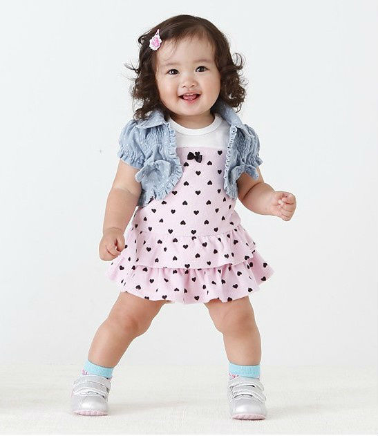 2016 Hot selling Popular baby girl clothes: sleeveless dress with small heart+ short cardigan/New design Free shipping(China (Mainland))