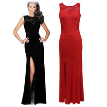 Elegant Women Long Maxi Lace See Through Patchwork Dress Ladies Sleeveless Right Split Casual Bodycon Party